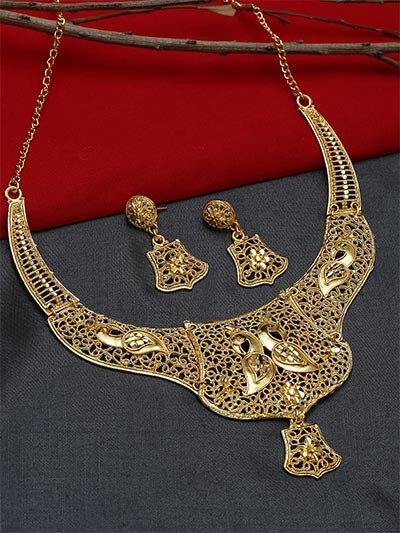 Peacock Golden Ethnic Necklace Set