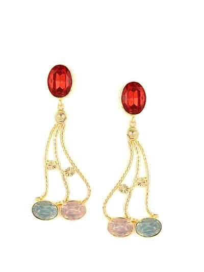 Meltdown Hyacinth with Street Opal and Rose water opal Designer Art Deco Party Wear earrings