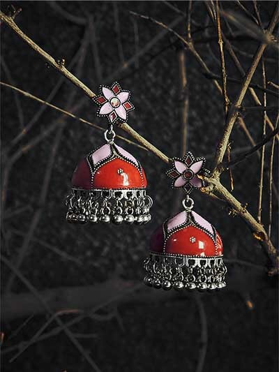 Peach and Red Meenakari Jhumki Earrings