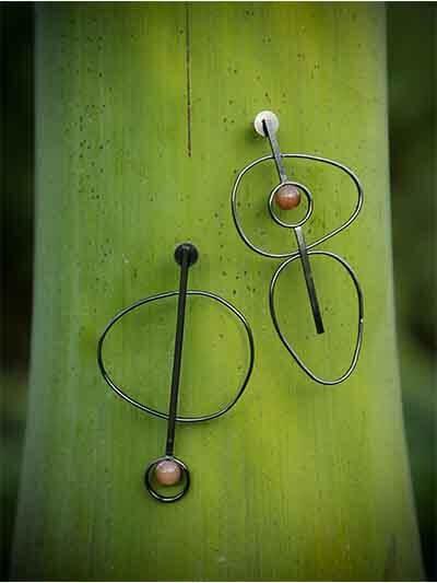 Black Designer Asymmetrical Brass Earrings For Women