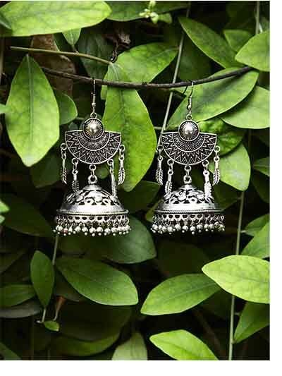 Designer Tribal Jewellery Jhumki Earrings With Hanging Metallic Bells