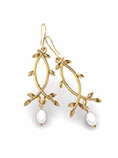 Golden Pearl Drop Earrings