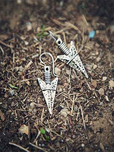 Oxidized Silver Triangular Earrings