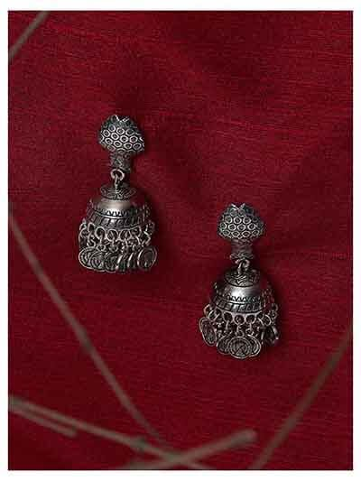 Tribal Jewellery Fish shaped Short Jhumkis With Hanging Coins