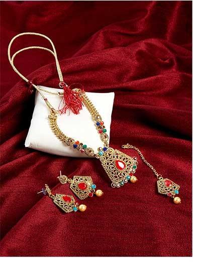 Multicolored Stone Embellished Golden Ethnic Necklace Jewellery Set for Wedding