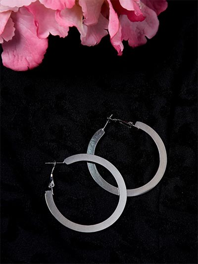 Metallic Black Flat Hoop Earrings
