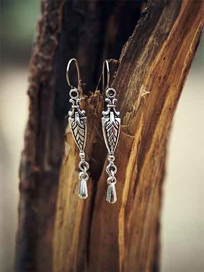 Short Oxidized Silver Sword Earrings