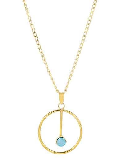 Blue Druzy Charm Round Pendant Chain  Fashion Necklace