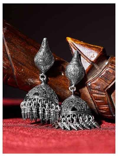 Cashew Shaped Tribal Jewellery Long Jhumkis With Pretty Hangings