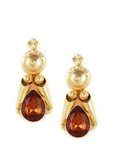 Gabrielle Brass Designer Smoked Topaz Trendy Party Wear earrings