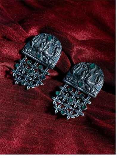 Silver Plated Designer Peacock Brass Earrings For Women