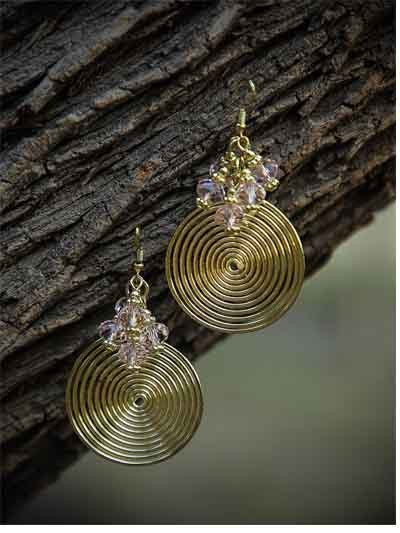 Trippy Silver Metal Circular Daze Handmade Western Earrings