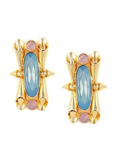 Golden & Blue Designer Brass Stud Earrings For Women