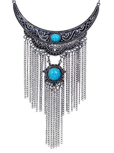 Teal Stone Pendant Collar Ethnic Tassel Fashion Necklace