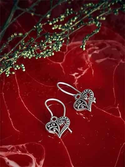 Oxidized Silver Heart Earrings