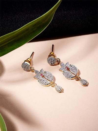 American Diamond Classic Floral Dangle Earrings