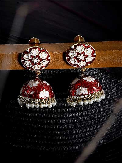 Red and White Lotus Meenakari Jhumki Earrings