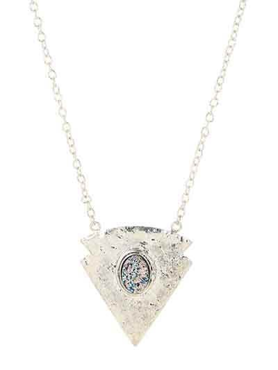 Inverted Triangle Titanium Druzy Silver Plated Chain Fashion Necklace
