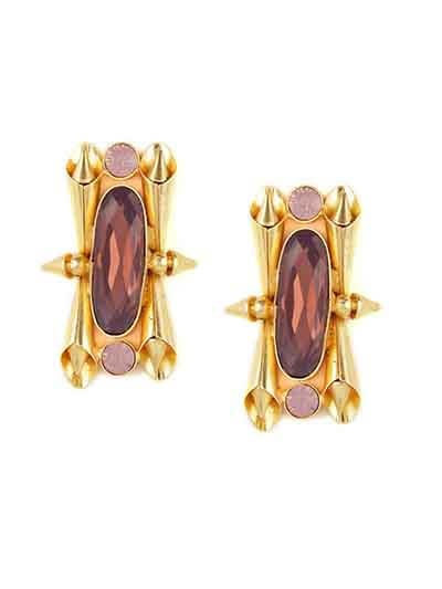 Amber Din in Amethyst Opal Brass Baroque Fancy Party Wear Earrings