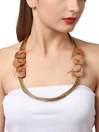 Brass and Rustic Stone Accent Layer Statement Necklace