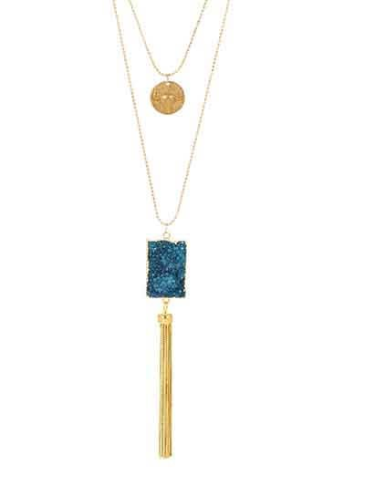 Turquoise Druzy Pendant Tassel Fashion Necklace