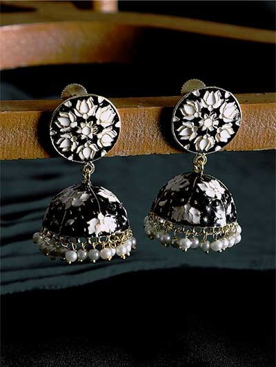 Black and White Lotus Meenakari Jhumki Earrings