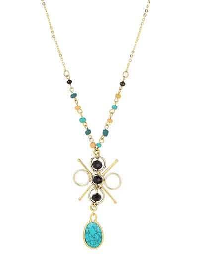 Turquoise Pendant Black Beads Fashion Necklace