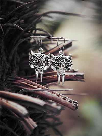 Oxidized Silver Owl Earrings