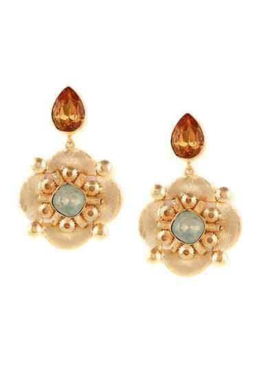 Golden & Brown Designer Brass Earrings For Women