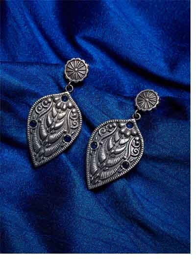 Leafy Brass Based Oxidized Silver Earrings Embellished With Blue Stones