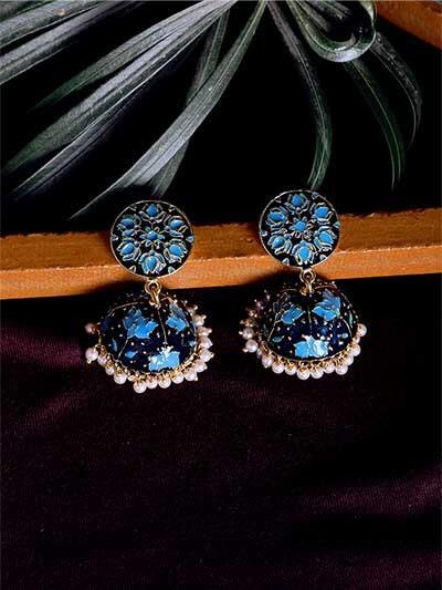 Blue Lotus Meenakari Jhumki Earrings
