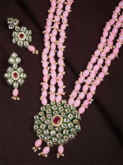Pink & Green Gold-Plated Kundan Jewellery Set