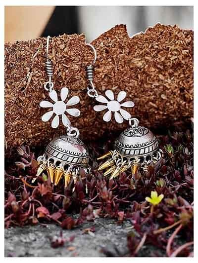 Pretty Floral Tribal Jewellery Long Jhumkis With Golden Hangings