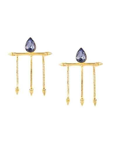 Lasting Lust Tanzanite Brass hanging Party Wear Earrings