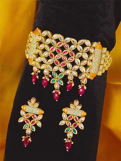 Multicolored Gold-Plated Kundan Studded Choker Necklace Set