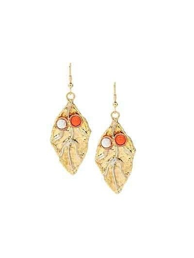 Coral Leaf Brass Party Wear Earrings