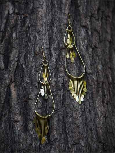 Dusky Gold Tassels Handmade Western Earrings