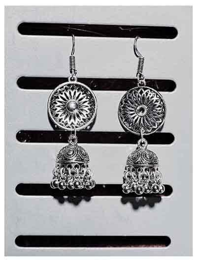 Long Tribal Silver Jhumka Earrings For Women