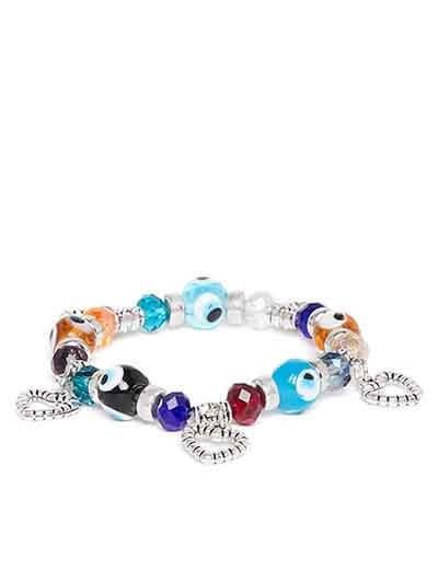 Multicolored Heart Charm Bracelet