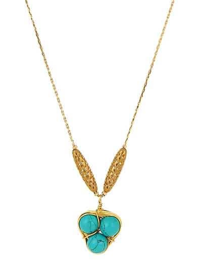 Turquoise Beads Brass Pendant Fashion Necklace