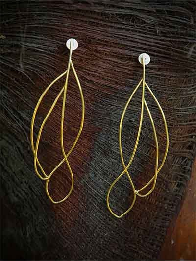Delicate Leaf Brass Plated 9 to 5 Office Wear Jewellery Earrings
