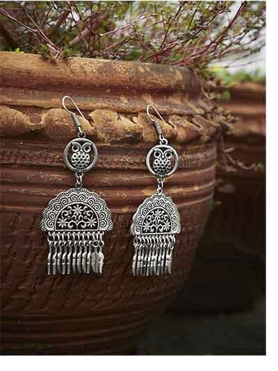 Owl Embellished Tribal Jewellery Danglers With Hanging Leaves