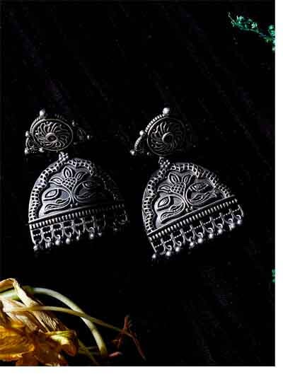 Classic Brass Based Oxidized Silver Earrings With Intricate Floral Embellishments