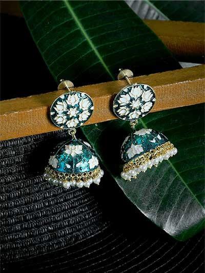Turquoise and White Lotus Meenakari Jhumki Earrings