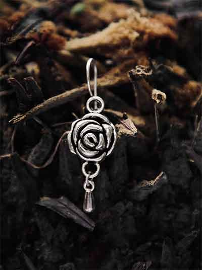 Oxidized Silver Flower Earrings
