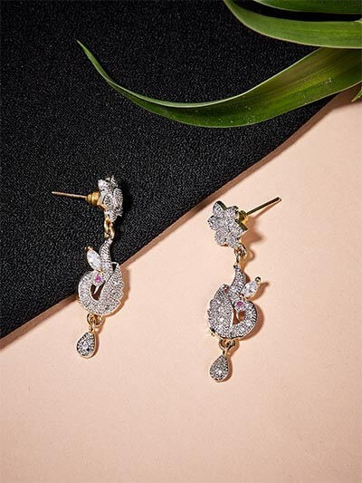 American Diamond Peacock Dangle Earrings