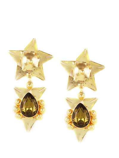 All-Nighter Smoky Topaz Designer Party  Wear Earrings