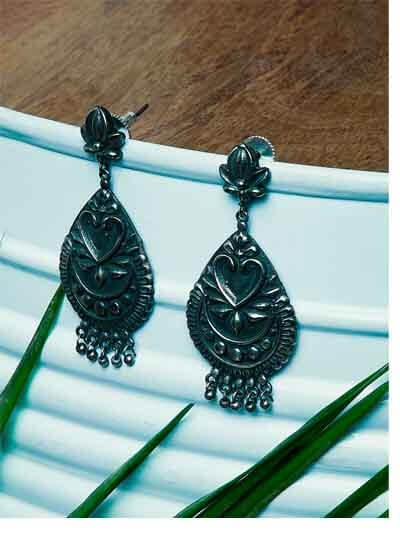 Silver Plated Brass Dangler Earrings With Designer Embellishments