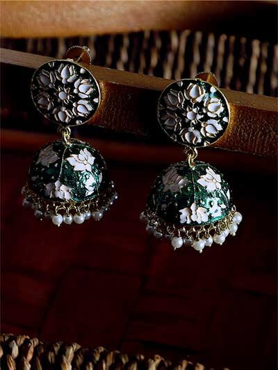 Green and White Lotus Meenakari Jhumki Earrings
