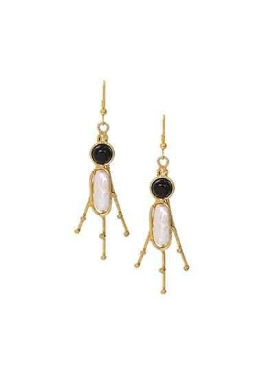 Black Onyx Brass Flower Handmade Jewellery Earrings